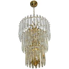 Large Three-Tier Gaetano Sciolari Italian Crystal Chandelier