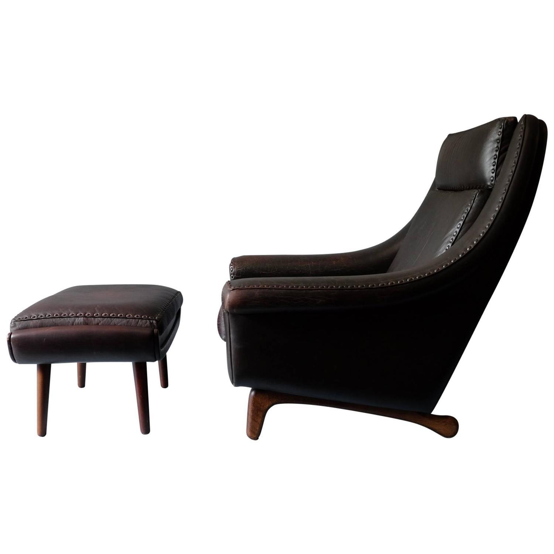 Aage Christiansen Matador Lounge Chair and Ottoman at 1stdibs