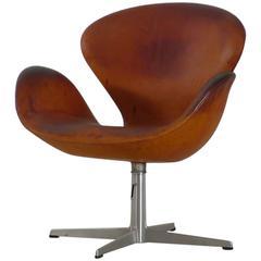 Arne Jacobsen Swan Chair, Cognac Leather