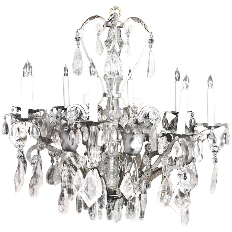 Fine French Bagues Style Silvered and Cut Rock Crystal Chandelier For Sale