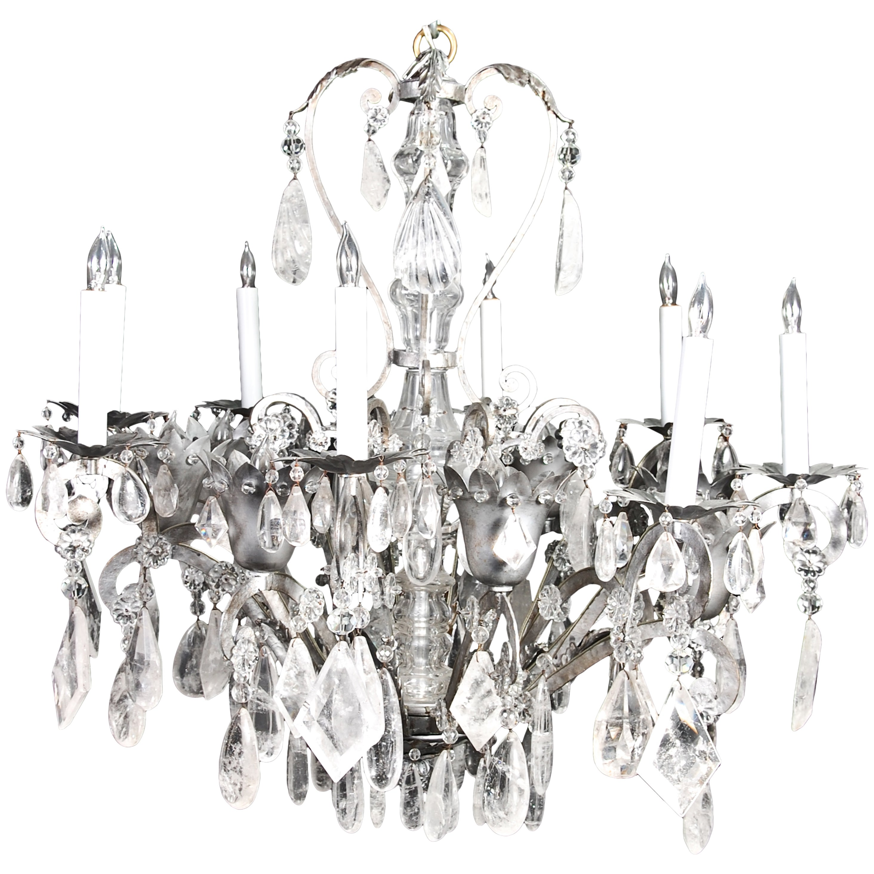 Fine French Bagues Style Silvered and Cut Rock Crystal Chandelier