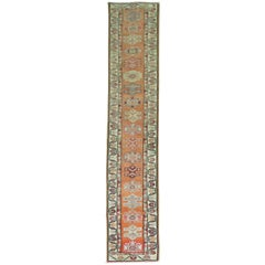 Bright Orange Narrow Vintage Turkish Runner 2' x 12'
