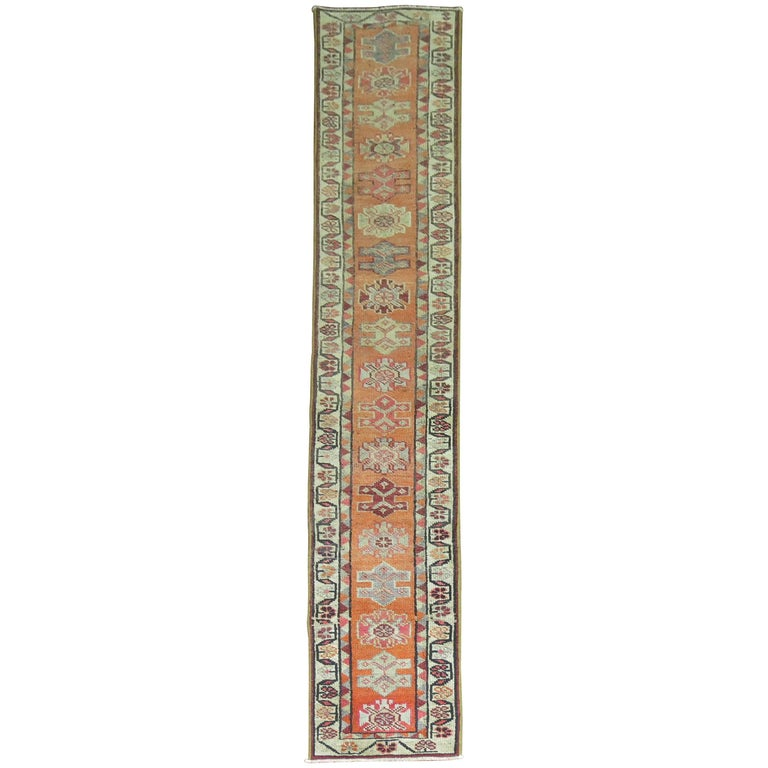 Bright Orange Narrow Vintage Turkish Runner 2' x 12' For Sale