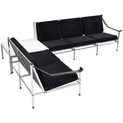 Set of Two Mid-Century Sofa's and Table in Chrome and Marble