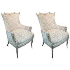 Pair of Carved and Painted Bergeres Upholstered in Fortuny Fabric