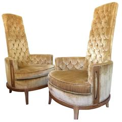 Hollywood Regency Pair of High Back Chairs in Vintage Tufted Gold Velvet