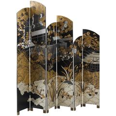 Folding Screen with Japanese Illustration