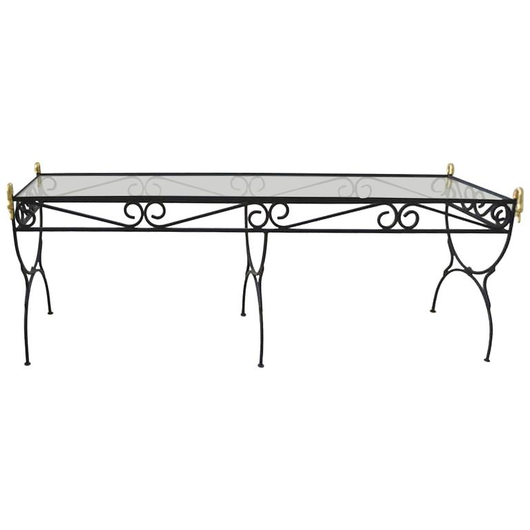 Hollywood Regency Wrought Iron Console Table
