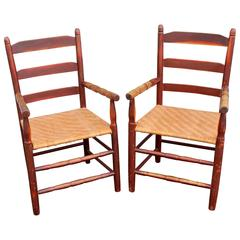 Pair of 19th Century Ladder Back Armchairs with Split Ash Seats