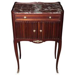 Marble Topped Antique Mahogany Bedside Table