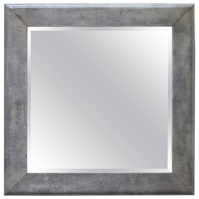 Huge Aldo Tura Goatskin Green Gray Wall Mirror