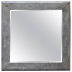 Huge Aldo Tura Goatskin Green Gray Wall Mirror