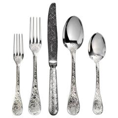 Jardin D'Eden by Christofle Sterling Silver Flatware Service Set 74 Pieces, New