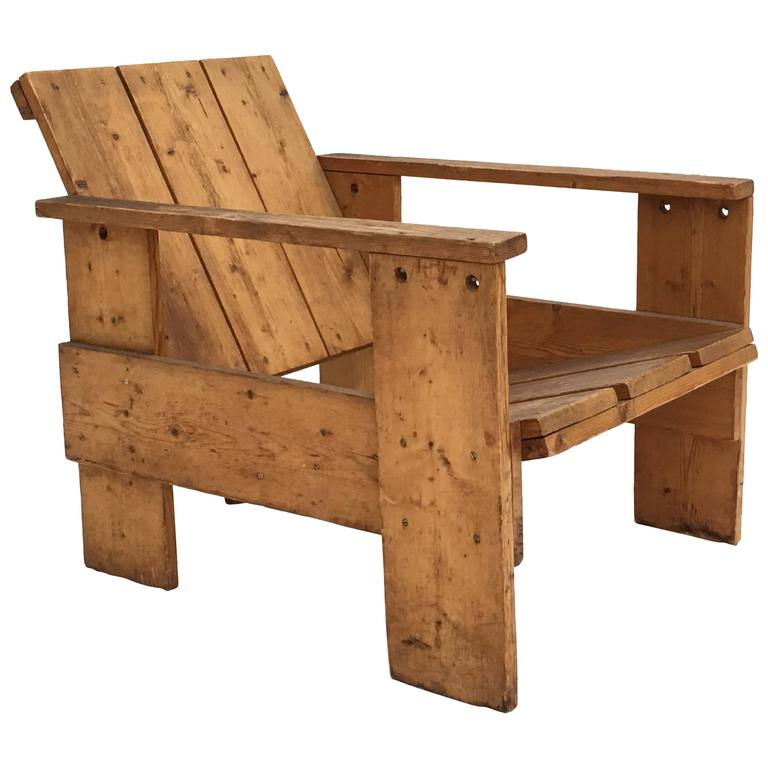 Wonderful 1950s Gerrit Rietveld Crate Chair By Unknown Manufacturer For Sale