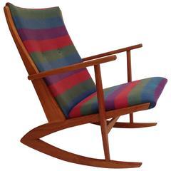 1950s Danish Rocking Chair by Designer Soren Jensen, Boomerang