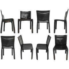 Lovely Set of 8 'CAB' Chairs by Mario Bellini, 1977 for Cassina, Original Labels