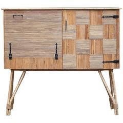 Fantastic French Bamboo Bar Cabinet Tiki Style, 1950