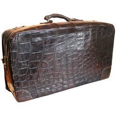 Jan Kiepura's Deco Period Brown/Black Alligator Suit Case