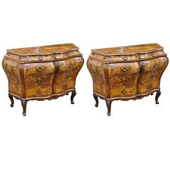 Pair of Mid-Century Italian Walnut Commodes