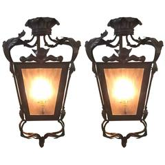 Pair of Mid-Century Bronze Lanterns