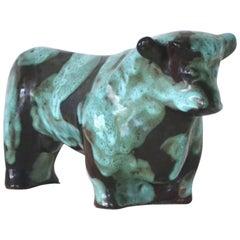 Mid-Century Ceramic Bull Sculpture by Marianna von Allesch
