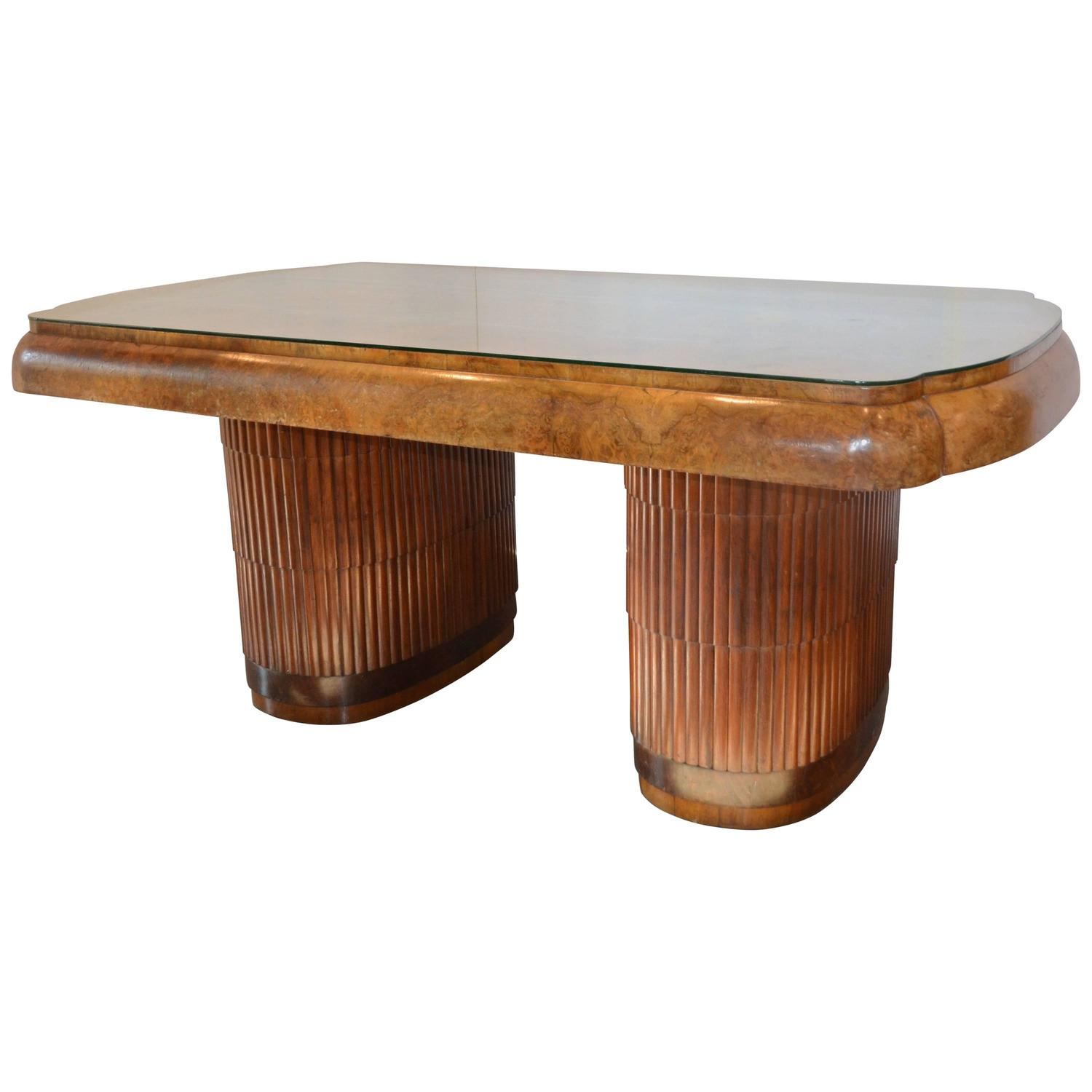 french 1940 s desk or dining table with adjustable bases burl and