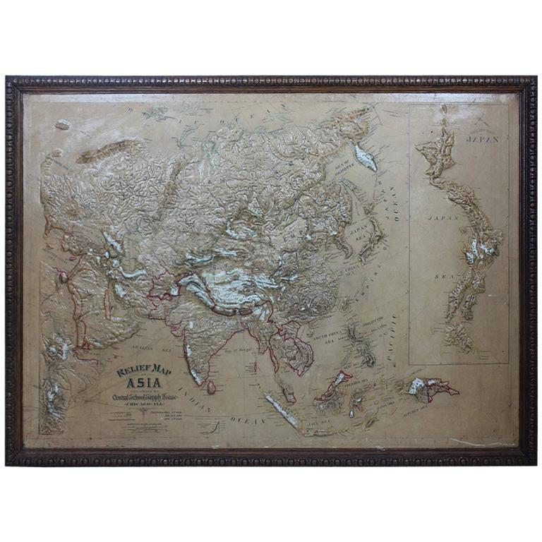 Large 1900s Relief Map of Asia