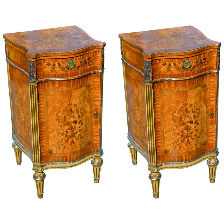 Pair of Edwardian Satinwood Inlaid Cabinets