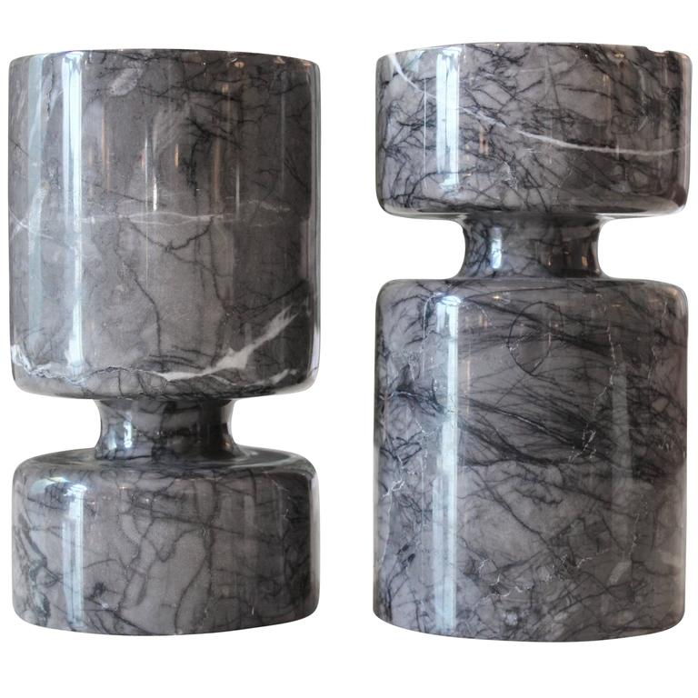 Pair of Reversible Marble Vases by Angelo Mangiarotti