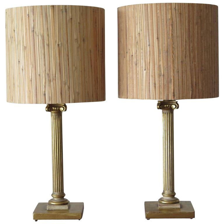 Pair of Maison Jansen Table Column Lamps
