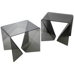 "Pair of Neal Small ""Origami"" Tables in Smoked Plexiglas"