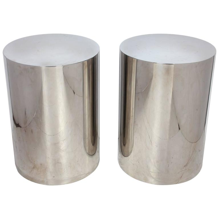 Milo Baughman Style Brushed Steel Drum Side Tables For Sale