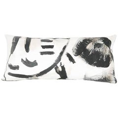 Black and White Two Hue Hand-Painted Rectangle Pillow