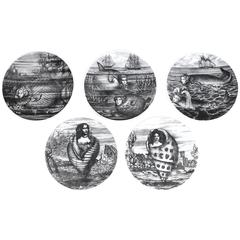 Set of Five Whimsical Nautical Themed Plates by Piero Fornasetti