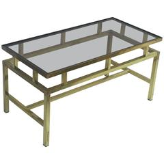 English Coffee or Low Table of Brass with Smoked Glass Top