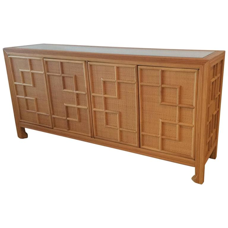 Pencil reed bamboo rattan wicker credenza vintage buffet for Sideboard rattan