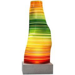 Lighting Marble Base Orange, Green and Yellow Barcode Small Glass Lamp
