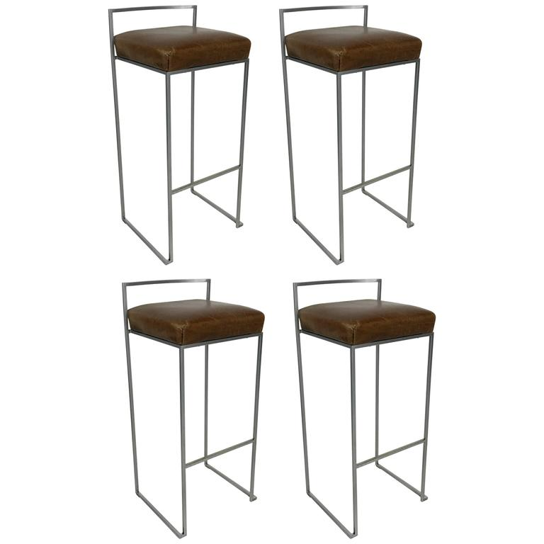 Set Of Four Minimalist Modern Bar Stools By Enzo Berti For