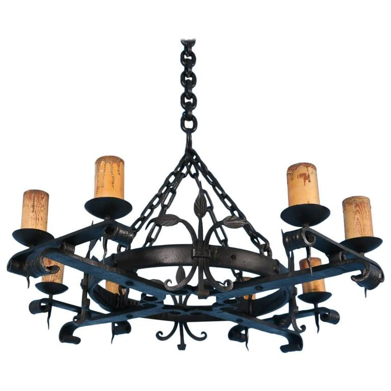 Antique Black Rustic Wrought Iron Danish Chandelier Circa 1910 At 1stdibs