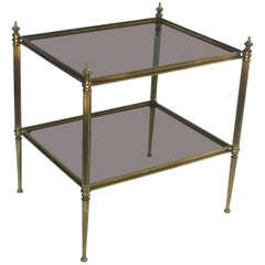French Coffee or Low Table of Brass and Smoked Glass