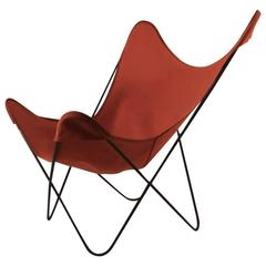 Hardoy Butterfly Chair with Original Orange Canvas Sling Seat