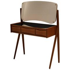 Danish Arne Vodder Teak Floating Mirror Vanity