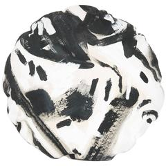 Black and White Hand-Painted Two Hue Canvas Circle Pillow
