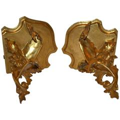 Small Pair of Carved and Gilt Corner Brackets