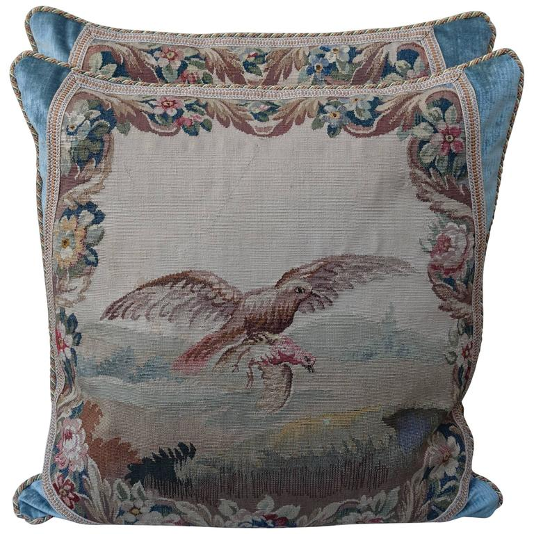 Pair of 19th Century Aubusson Textile Pillows For Sale