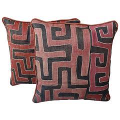 Pair of Rust and Black Kuba Cloth Pillows