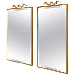 Elegant Pair of Bronze Mirrors in the Style of Gio Ponti, Italy 1950s