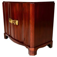 Art Deco Walnut Cabinet with Bronze Pulls