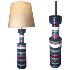 Pair of Table Lamps by Ettore Sottsass for Bitossi Imported by Raymor