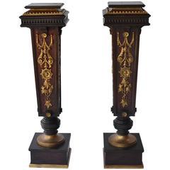 Pair of 19th Century Walnut Pedestals